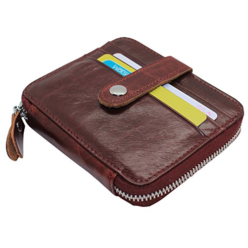 Oil Wax Leather Credit Card Holder Case Zip Around Square Clutch Wallet for Men Women (Wine Red)