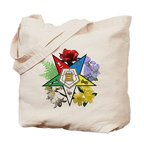 CafePress Eastern Star Floral Natural Canvas Tote Bag, Cloth Shopping Bag