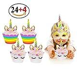 Unicorn Horn Hats, 15pcs Glitter Gold Unicorn Theme Party Supplies Unicorn Headband … (28pack)