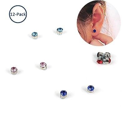 4c56ed547d67f Amazon.com: 12 Pair Magnetic Stud Earrings, Echeer Stainless Steel ...