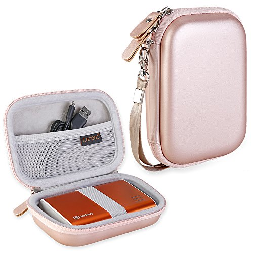 Canboc Shockproof Carrying Case Storage Travel Bag for Jackery Giant+ 12000 mAh 10200mAh,Anker PowerCore 13000 Portable Charger Power Bank External Battery Protective Pouch Box, Rose Gold