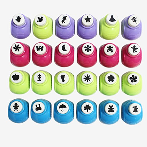 Large 24 Piece Craft Paper Punch Set by Curtzy - Scrapbook Paper Cards Crafts Punches Card Making Scrapbooking Supplies Shape Cutter Cutters - Ideal for Cutting Flowers Snowflake Star Bird Patterns (Sand Dollar Paper Punch)