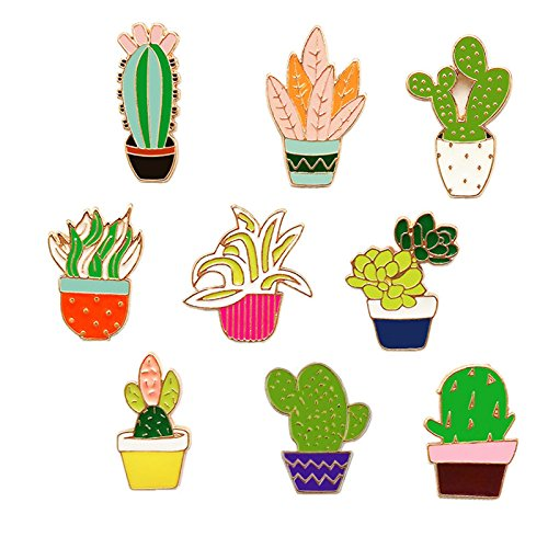 Ginooars Pack of 9 Cartoon Cute Cactus Enamel Brooches Set Pins Badge for Clothing/Bags/Backpacks/Hats/Jacket