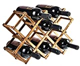 Foldable Wooden Wine Bottle Holder - Natural Wine Shelves - 10 Wine Bottle Storage Slots, Wine Rack (10 Bottle Slots)