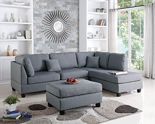 Poundex Upholstered Sofas/Sectionals/Armchairs, Grey (Shaped Couch L Gray)