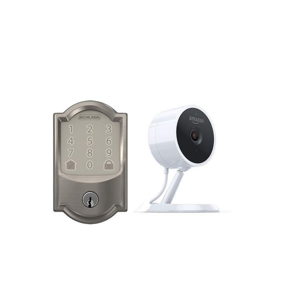 Schlage Encode Smart WiFi Deadbolt Cloud Cam Camelot in Satin Nickel Key Smart Lock Kit