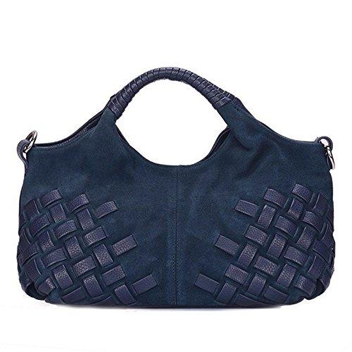 Nico Louise Women Weave Suede Genuine Leather Handbag Female Leisure Casual Lady Crossbody Shoulder Bag Messenger Top-handle Bags (Navy Blue (Suede Leather Purse)