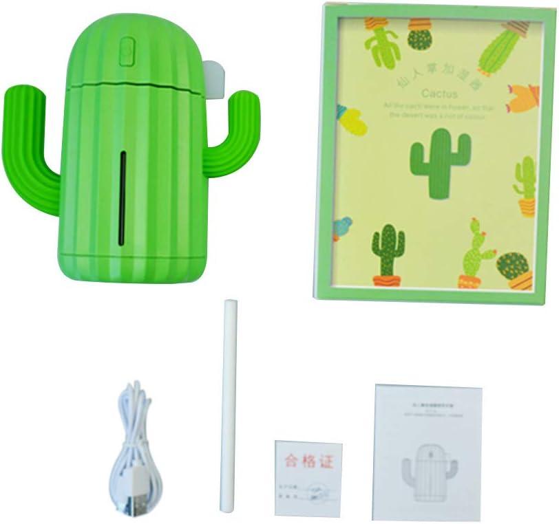 Decdeal Mini Umidificatore 340ML Forma di Cactus,Diffusore di Olio Essenziale,USB Umidificatore Ad Ultrasuoni Nebulizzatore per Ufficio Casa