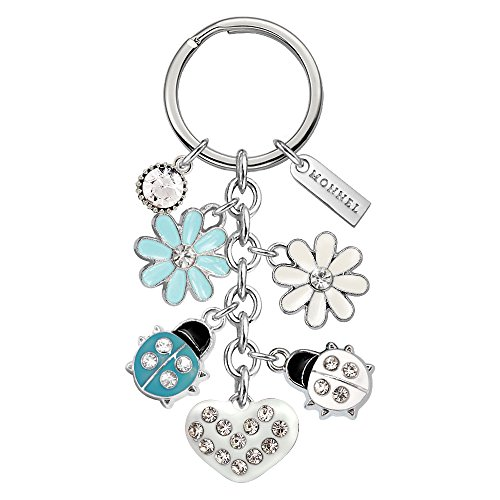 Monnel Brand New Blue & White Ladybug Heart Flowers Keychain with Velvet Bag (Ladybug Key Ring Keychain)