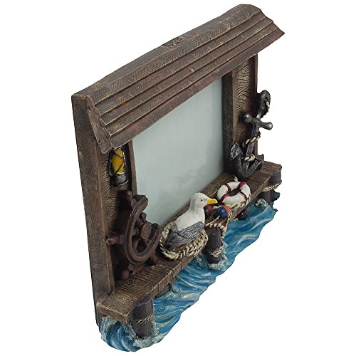 Decorative Fishing Dock Desktop Picture Frame with Anchor, Ship's Wheel, Lantern, Life Preserver and Seagull Holds 6 x 4 Photo for Nautical Decor As Ocean, Sea & Coastal Gifts