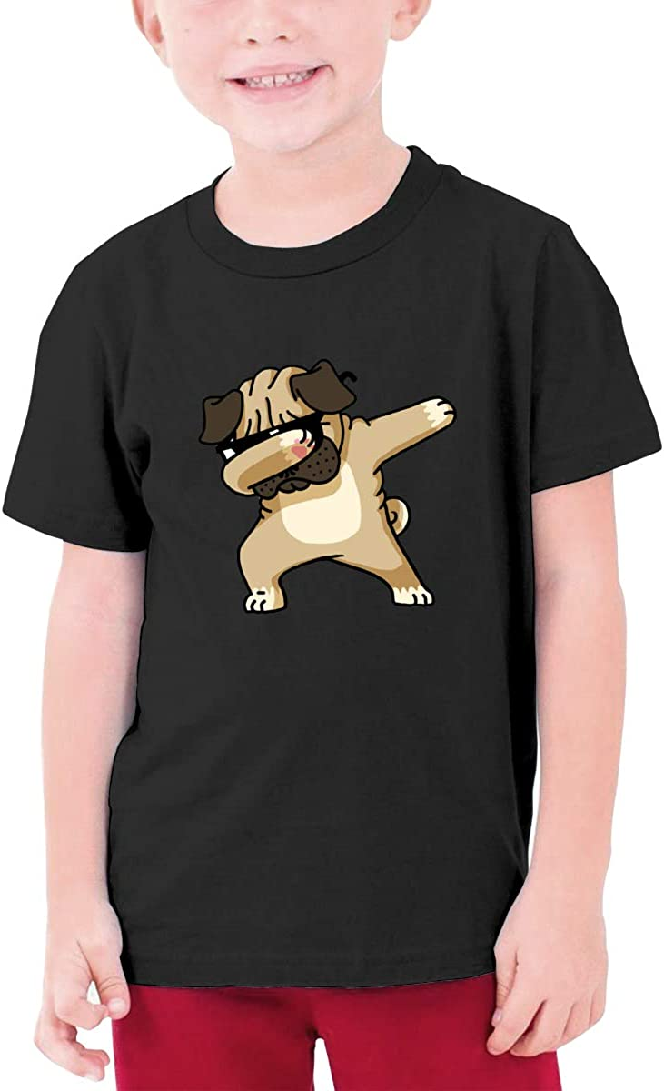 EROTEN Dabbing Pug Funny Cotton Youth T Shirts Short Sleeve for Teenager Boys Girls