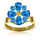 ALARRI 2.43 Carat 14K Solid Gold Love Theme Blue Topaz Ring With Ring Size 8.5