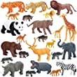 Jumbo Safari Animals Figures, Realistic Large Wild Zoo Animals, Jungle Animals Toys Set with Tiger, Lion, Elephant, Giraffe Eduactional Toys Playset for Kids Toddler Party Supplies