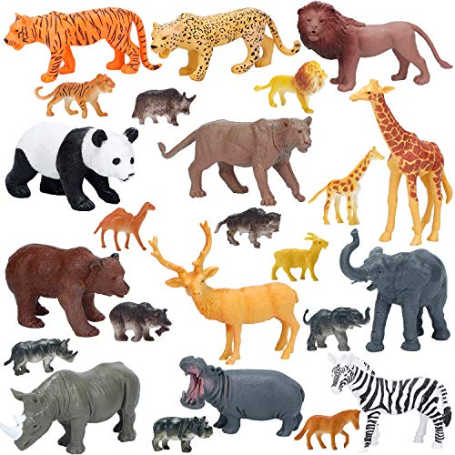 (Jumbo Safari Animals Figures, Realistic Large Wild Zoo Animals, Jungle Animals Toys Set with Tiger, Lion, Elephant, Giraffe Eduactional Toys Playset for Kids Toddler Party)