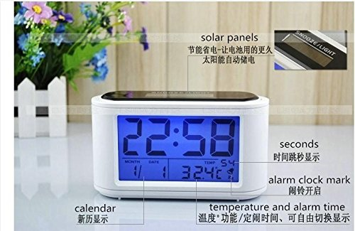 Solar LED Digital Alarm Clock Touch Sensing with Backlight Eco-friendly Calendar Frozen Home Decor by YingYing Home