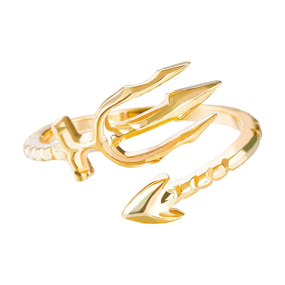 Auther Trident Ring Golden Gilded Movie Aquaman Finger Rings for Women Men