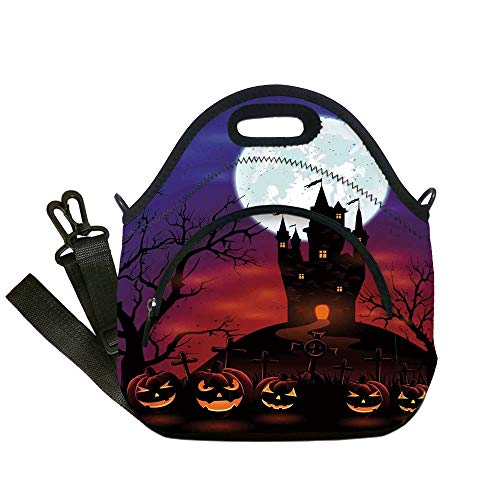 Insulated Lunch Bag,Neoprene Lunch Tote Bags,Halloween Decorations,Gothic Haunted House Castle Hill Valley Night Sky October Festival Theme,Multi,for Adults and children]()