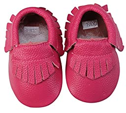 Unique Baby Leather Baby Moccasins Anti-Slip Shoes S (5.1 inches) Pink
