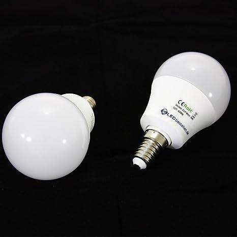 2 x E14 5 W LED Ball lámpara 4000 K blanco como 40 W, blanco neutral ...