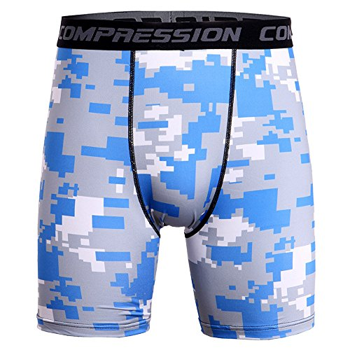 Price comparison product image New Mens Compression Shorts Camo Running Base Layer Shorts Escape Quest Cool Dry Sports Tights (L,  Blue -1)
