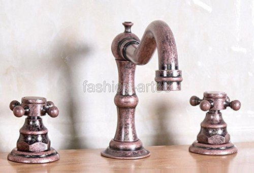 Tyrants FaucetKitchen faucet Bathroom faucetVintage Retro Roman Red Antique Copper 2 Cross Handles Widespread 3 holes Bathroom Vessel Sink Faucet Cold/Hot Water Tap anf173,Brass,Red by Tyrants Faucet