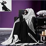 Girls couch blanket Man and Woman Partners Romantic Dance Tango Waltz Love Valentines Rhythm Music Art Custom Black White size:50''x60''