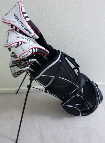 TaylorMade Mens Complete Golf Club Set Driver, Fairway Wood, Hybrid, Irons, Putter, Stand Bag Taylor Made RH Stiff Flex Clubs