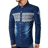 kaifongfu Denim Shirt,Long Sleeve Shirt Top Men Slim Shirt Autumn(Navy,XL)