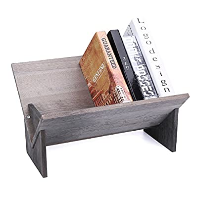MyGift Rustic Barnwood Gray Tilted Desktop Bookshelf - RUSTIC DESIGN: 16.5-inch tilted wooden tabletop bookshelf in barnwood gray finish. PRACTICAL DESIGN: A unique desktop book rack with upward-tilted design makes for easy access your books and magazine. MULTIPURPOSE: Used to store frequently used reference books, magazines or cookbooks in the kitchen. - living-room-furniture, living-room, bookcases-bookshelves - 51x%2BfC8D0aL. SS400  -