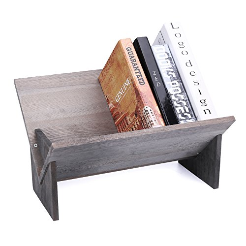 MyGift Rustic Barnwood Gray Tilted Desktop Bookshelf (Kitchen & Catalog Home)