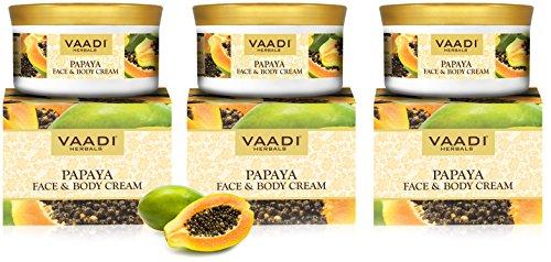 Papaya Face & Body Moisturizer Cream 16 Oz (Pack of 3 X 150 Gm) - Herbal Cream - All Natural - Paraban Free - Sulfate Free - Vaadi Herbals Herbal Body Cream