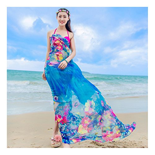 GERINLY Chiffon Sarong Wrap: Pretty Floral Print Plus Size Beach Cover Up (Blue)