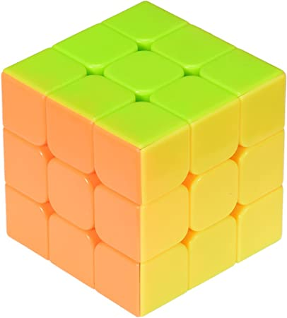 Stickerless Yj Moyu Yulong Plus 3x3x3 Speed Cube Puzzle, High Bright (Multi-Colored)