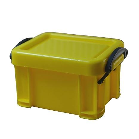 OUNONA Mini Caja de Plástico con Tapa con Clip Apilable Organizador del Hogar de Oficina (