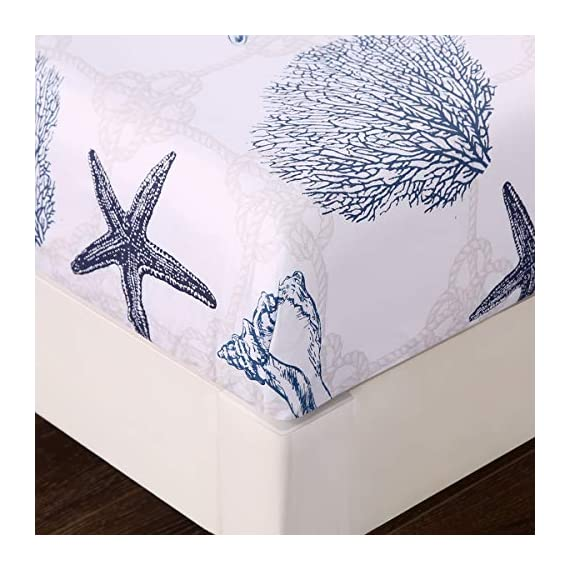 "ARTALL Brushed Microfiber Bed Sheet Set 4-Piece 1800 Bedding Seashell Starfish Pattern, Blue, Queen Size - [SUPER SOFT FABRIC]: our sheet set is made with Premium Brushed Microfiber. Fade, wrinkle and shrink resistant. Made of premium microfiber that makes the fabric more durable than cotton. It provides you a unique soft, comfortable, luxurious feel that make you fall asleep fast and sleep better. [MEASUREMENTS]: Queen: Flat sheet 90""x102""; Fitted sheet 60x80+14""; Pillowcases 2x20""x30"" [UNIQUE DESIGN]: ARTALL Printed Sheet Set features attractive gorgeous sea life pattern. The duvet cover with vibrant colors looks elegant and it adds romantic atmosphere to your room. - sheet-sets, bedroom-sheets-comforters, bedroom - 51x%2Bfaw0dTL. SS570  -"