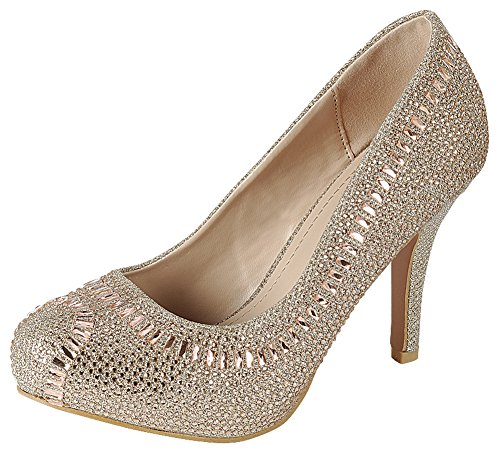 Cambridge Pump Champagne Heel High Select Women's Rhinestone Stiletto Dress Closed Toe Glitter Almond Crystal SOrS7q