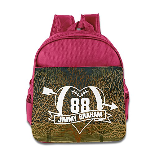 (Custom Heart Football Player #88 Funny Kids Shoulders Bag For 1-6 Years Old Pink)