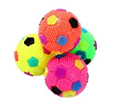 PET SHOW Cat Balls Lighted Soft Colorful Squeaky Rubber Interactive Football for Dog Teeth Cleaning Toy Four Colors Pack of 4
