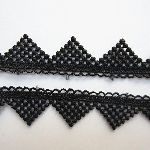 5 Meters Hollowed Triangle Picot Lace Trim Ribbon 2 cm Width Vintage Style Black Edging Trimmings Fabric Embroidered Applique Sewing Craft Wedding Bridal Dress DIY Party Clothes Embroidery (Lace Trim Triangle)