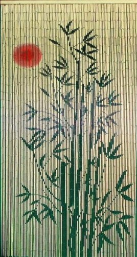 Red Sun Bamboo Tree Scene Curtain