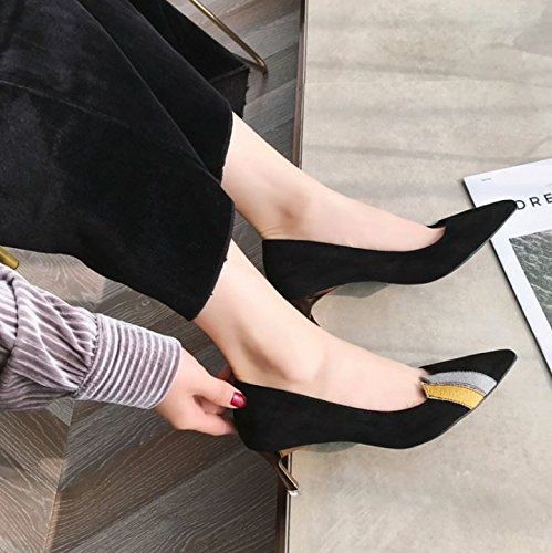 Fashion Shoes 34 Match High Leisure All Fine Work Spring With Lady Shoes 6Cm Elegant Heeled MDRW A Black Pointed Shoes nHqfTwRx8Y