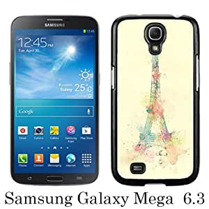 Unique Samsung Galaxy Mega 6.3 I9200 I9205 Skin Case ,Fashionable And Durable Designed Phone Case With Eiffel Tower Watercolor Paint Black Samsung Galaxy Mega 6.3 I9200 I9205 Screen Cover Case