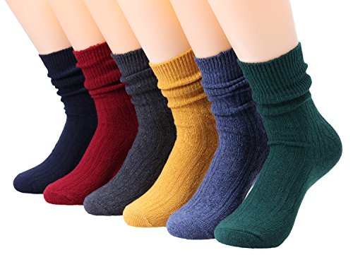6 Pairs Womens Cotton Blended Knitted Boot Crew Socks Colorful 5-10 WS88 (Mixed) (Twist Solid Crew)
