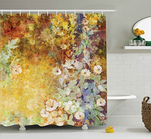 Brown Multi Colored - Ambesonne Floral Shower Curtain Leaves Decor by, Watercolor Painting Flowers Soft Green Romantic Grunge Antique Vintage Theme, Polyester Fabric Bathroom Set with Hooks, Yellow Brown Multicolored