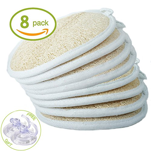 Exfoliating Loofah Sponge Pads (Pack of 8) - Large 4x6 - 100% Natural Luffa and Terry Cloth Materials Loofa Sponge Scrubber Body Glove - Men and - Sponge Terry
