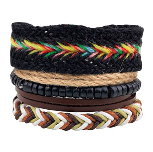 Winter's Secret Rainbow Seven Color Hand Braided Rope Four-piece Suit Black Wood Beaded Wrist Bracelet Basketball Wreath Award