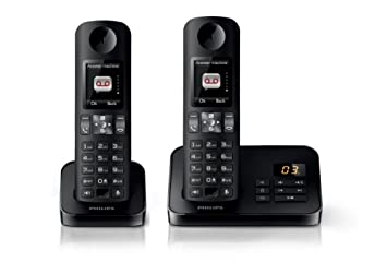 Philips D6052B FR Téléphone fixe sans fil + 2 combinés avec répondeur +  écran couleur ebbc9a8de8ed