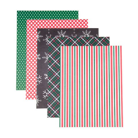 Traditional Christmas Patterned 8.5x11 Cardstock Paper Pack - 25 sheets