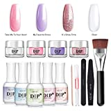 Nail Dipping Powder Starter Kit 4 Colors(1oz.),French Dip Acrylic Nails Powders System(Comes with Bond,Base,Activator,Top,Brush Saver,4 Powder Jars + Some Manicure Tools)