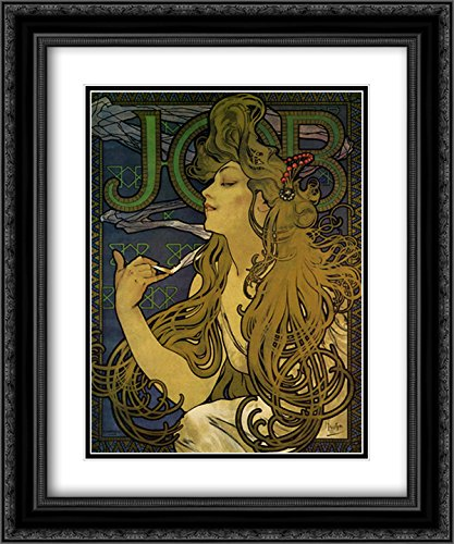 (Job 1897 2X Matted 15x18 Black Ornate Framed Art Print by Alphonse Mucha)